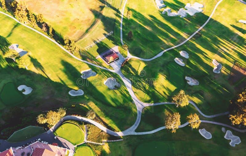 Widok z lotu ptaka pola golfowego klub poza miastem w losie angeles obrazy stock