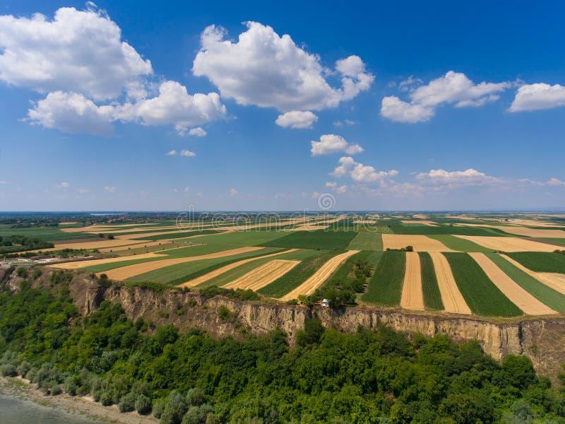 Widok z lotu ptaka pola na banku Danube zdjęcie stock