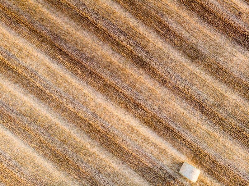 Widok z lotu ptaka pole z pszeniczną belą fotografia stock