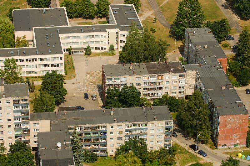 Widok z lotu ptaka prefab domy w Karoliniskes, Vilnius, Lithuania zdjęcie royalty free