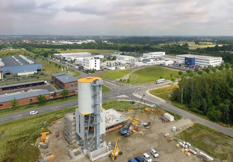 Widok z lotu ptaka przemysłowa nieruchomość z budową f obrazy stock