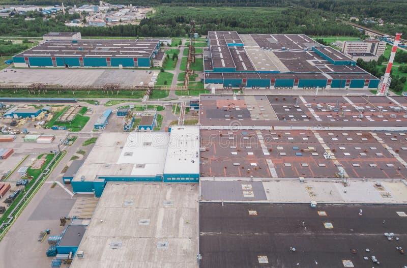 Widok z lotu ptaka przemysłowy teren obraz stock
