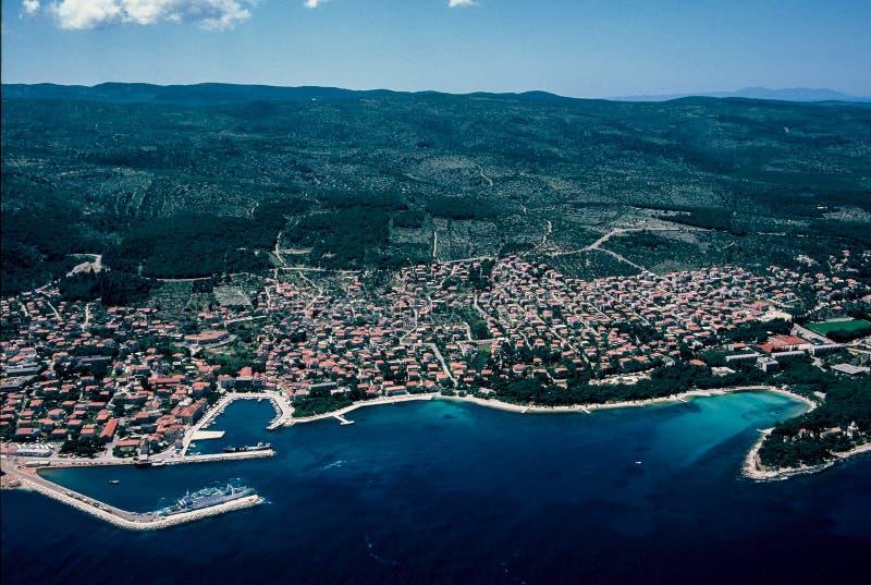 Widok z lotu ptaka przy Supetar przy Brac wyspą fotografia stock
