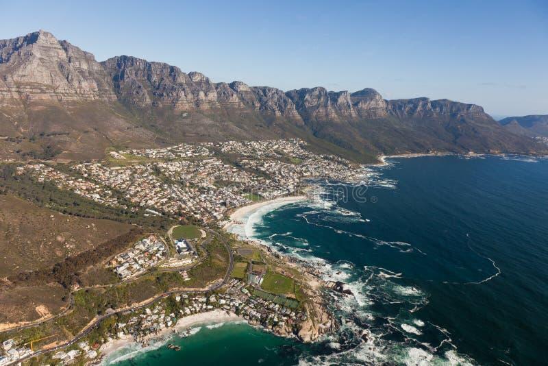 Widok z lotu ptaka przylądek grodzki Południowa Afryka od helikopteru Panorama ptaków oka widok zdjęcia royalty free