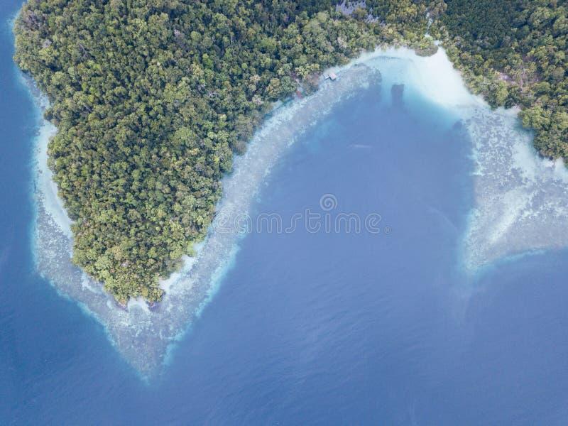 Widok Z Lotu Ptaka rafa koralowa i tropikalny las deszczowy w Raja Ampat obrazy stock