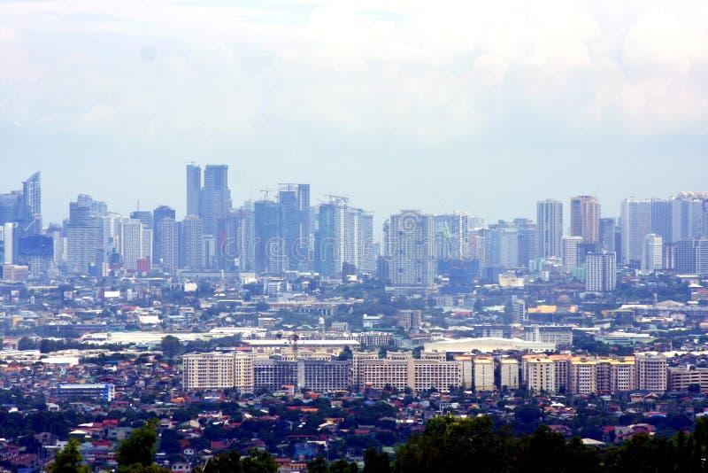 Widok z lotu ptaka reklama, budynki mieszkalni i założenia w miasteczkach Cainta, Taytay, Pasig, Makati i Taguig, obraz stock
