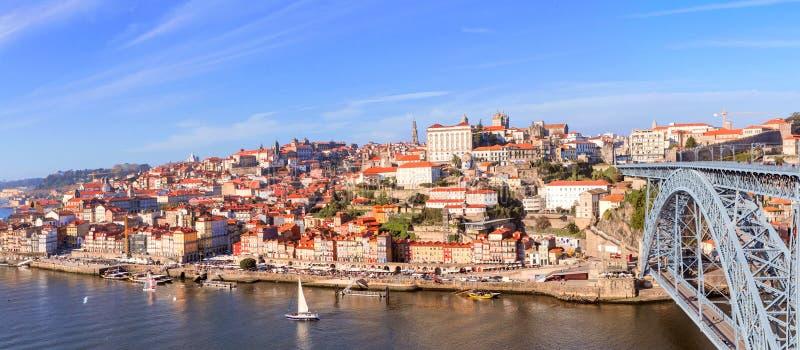 Widok z lotu ptaka Ribeira, Oporto, Portugalia obrazy royalty free