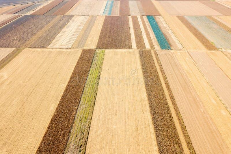 Widok z lotu ptaka rolnicza pole jesieni wieś zdjęcia royalty free