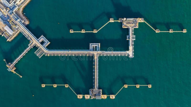 Widok z lotu ptaka ropy naftowej śmiertelnie, Ładowniczej ręki ropa i gaz rafineria przy reklama portem, obrazy stock