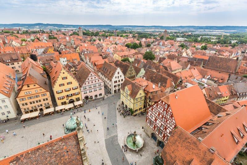 Widok z lotu ptaka Rothenburg ob dera Tauber zdjęcie stock