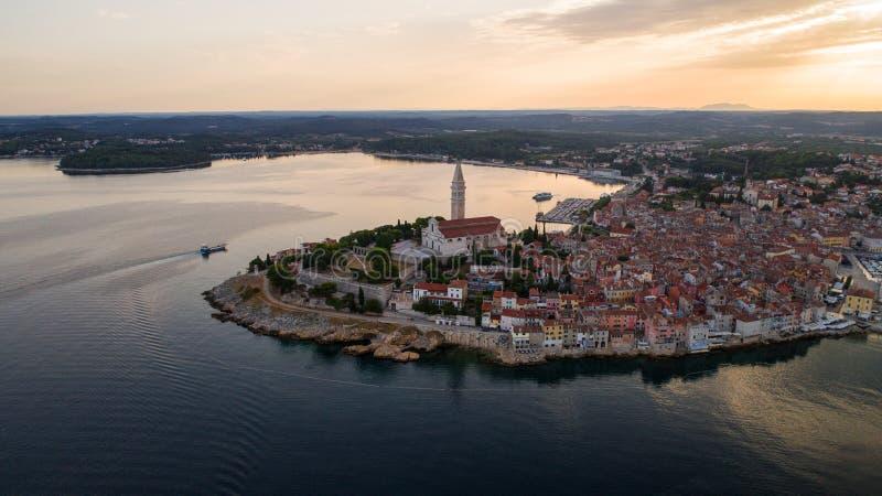 Widok z lotu ptaka Rovinj, Chorwacja zdjęcie stock