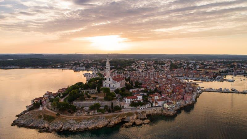 Widok z lotu ptaka Rovinj, Chorwacja zdjęcia royalty free