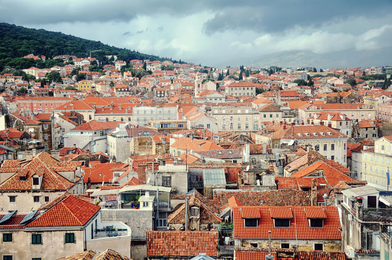Widok z lotu ptaka rozłam, Chorwacja fotografia stock