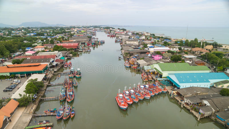 Widok z lotu ptaka rybak wioska obrazy royalty free