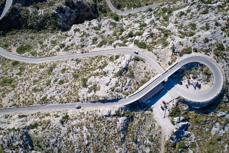 Widok z lotu ptaka Sa Calobra droga, Mallorca wyspa obrazy royalty free