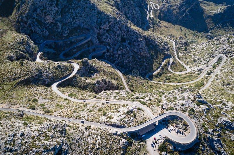 Widok z lotu ptaka Sa Calobra droga, Mallorca wyspa fotografia royalty free