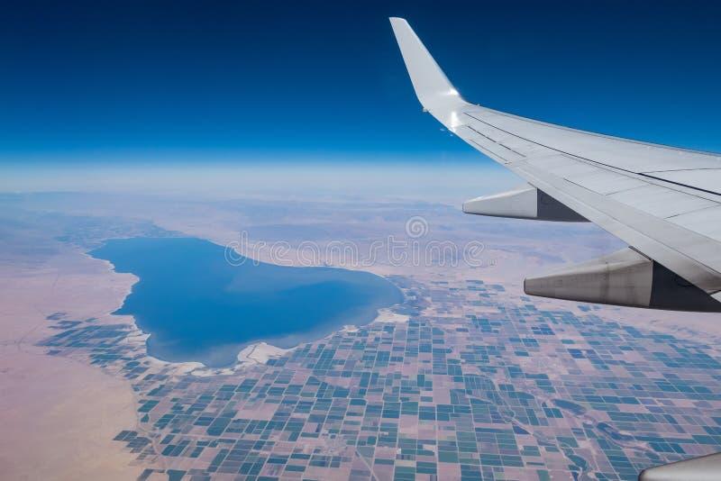 Widok z lotu ptaka Salton Brawley i morza wiejska scena obraz stock