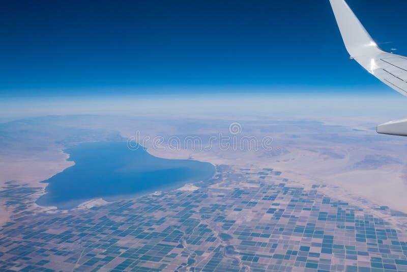 Widok z lotu ptaka Salton Brawley i morza wiejska scena zdjęcia stock