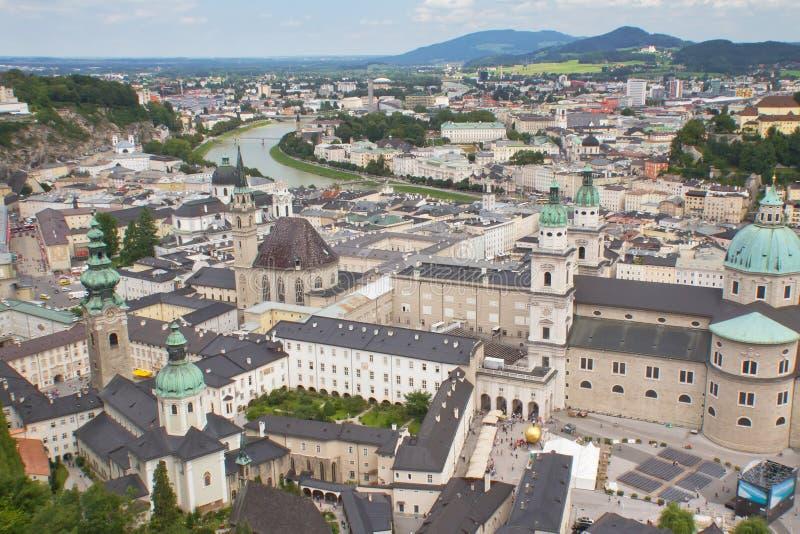 Widok z lotu ptaka Salzburg (Austria) zdjęcia stock