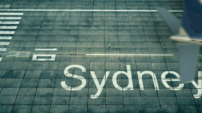 Widok z lotu ptaka samolot przyjeżdża Sydney lotnisko Podróż Australia 3D rendering ilustracja wektor