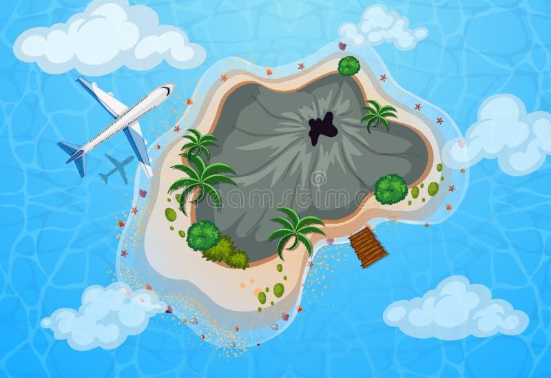 Widok z lotu ptaka samolotowy latanie nad wyspą ilustracja wektor