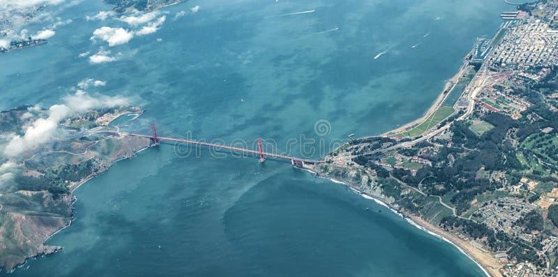 Widok Z Lotu Ptaka San Fransisco Golden Gate Bridge obraz stock