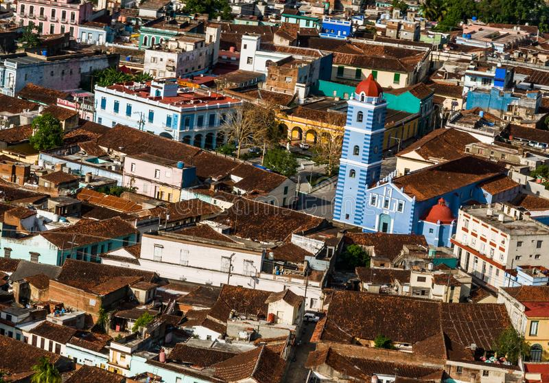 Widok z lotu ptaka Sancti Spiritus miasto, Kuba obraz royalty free