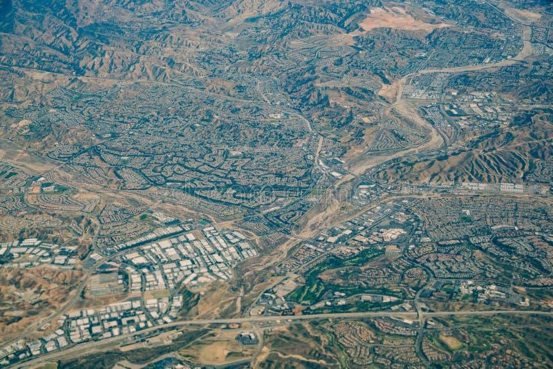 Widok z lotu ptaka Santa Clarita teren zdjęcie stock