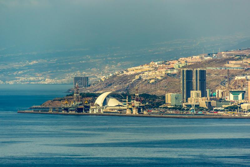 Widok Z Lotu Ptaka Santa Cruz de Tenerife wyspa kanaryjska Spain zdjęcie stock