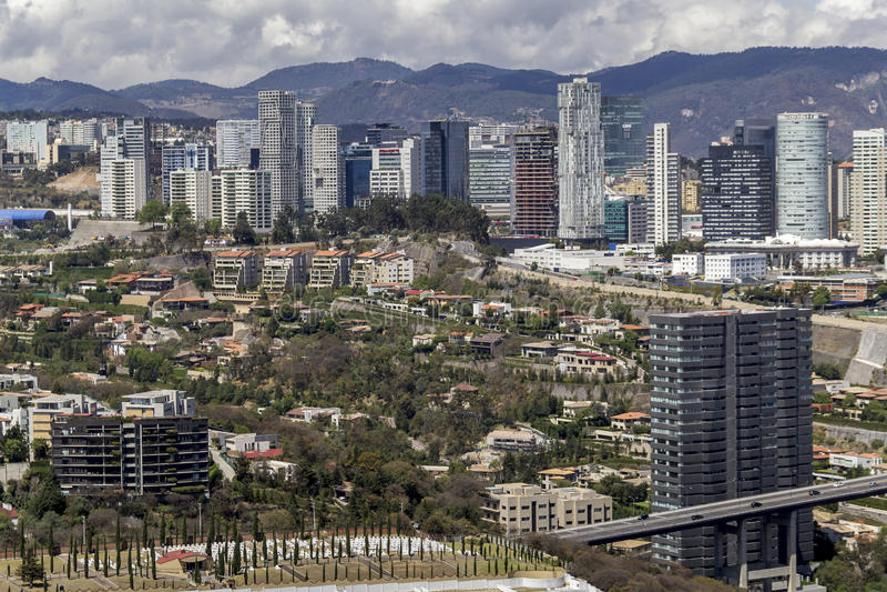 Widok z lotu ptaka Santa fe w Mexico - miasto fotografia stock