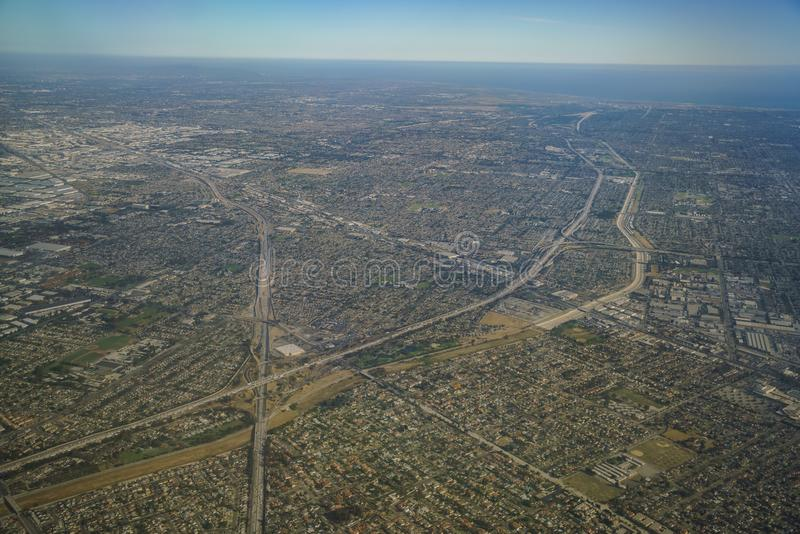 Widok z lotu ptaka Santa Fe wiosny, Norwalkm Bellflower, Downey, vi obraz royalty free