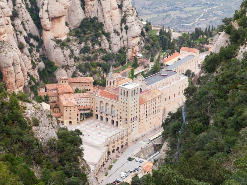 Widok z lotu ptaka Santa Maria de Montserrat monaster obrazy stock