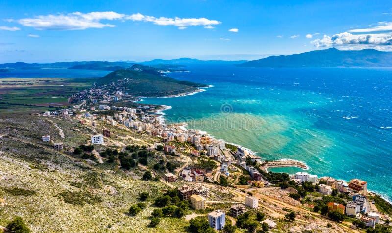 Widok z lotu ptaka Saranda, Albania obraz stock