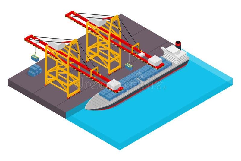 Widok z lotu ptaka schronienia nabrzeże i morski terminal z zbiornika statkiem ładuje isometric plakat ilustracji