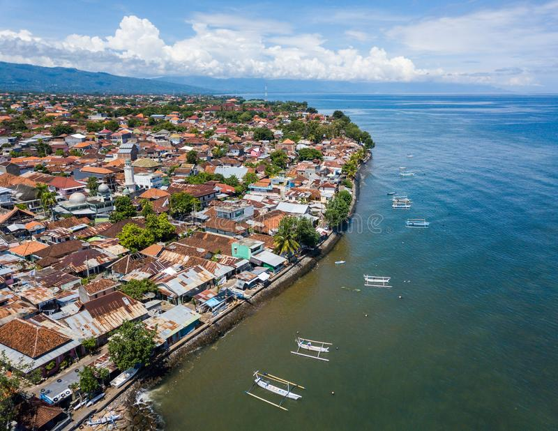 Widok z lotu ptaka Singaraja w Bali fotografia royalty free
