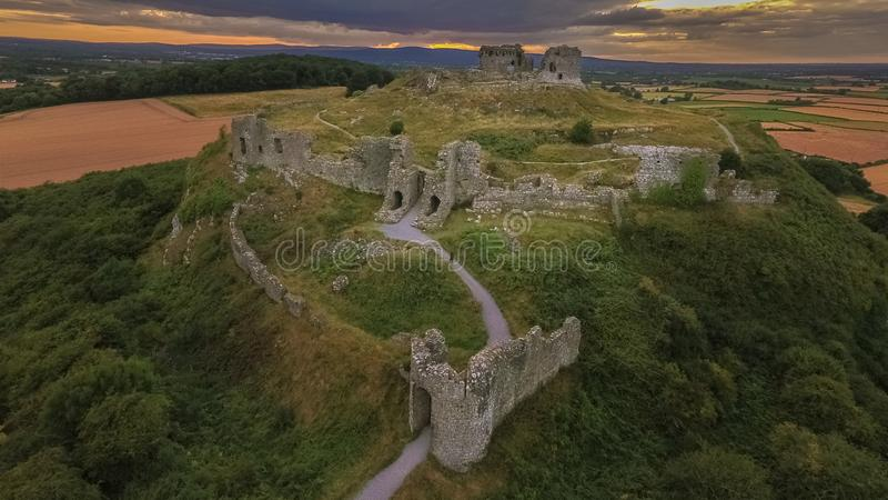 widok z lotu ptaka Skała Dunamase Portlaoise Irlandia zdjęcie royalty free