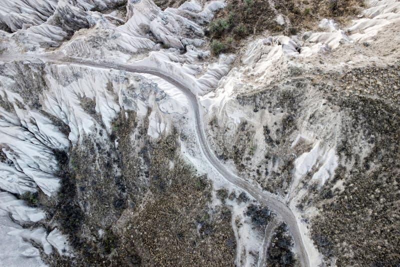Widok z lotu ptaka skalisty krajobraz w Cappadocia fotografia stock