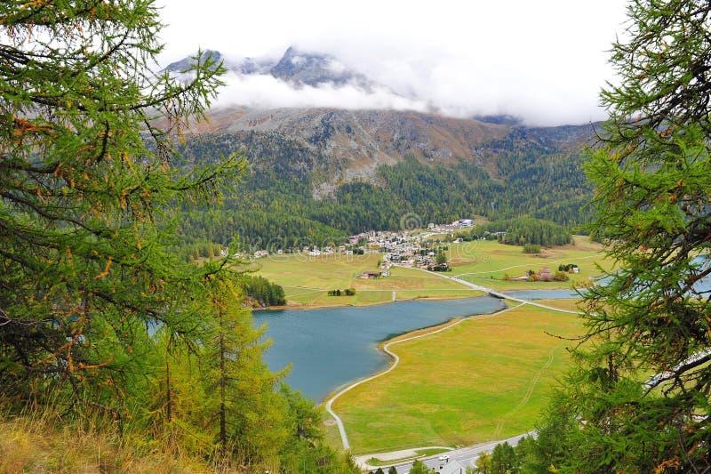 Widok z lotu ptaka St Moritz dolina obrazy royalty free