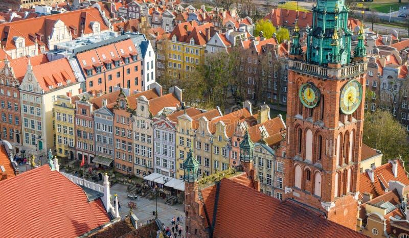 Widok z lotu ptaka stary dziejowy grodzki centre, Gdański, Polska zdjęcia royalty free