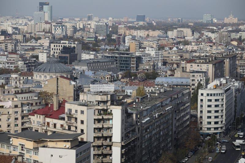 Widok z lotu ptaka Stary Grodzki Bucharest zdjęcie royalty free