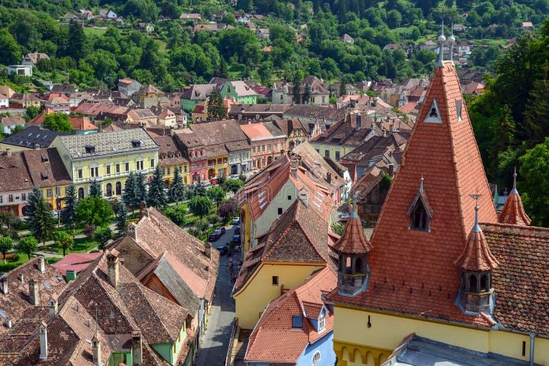 Widok z lotu ptaka stary grodzki Sighisoara, Rumunia obraz royalty free