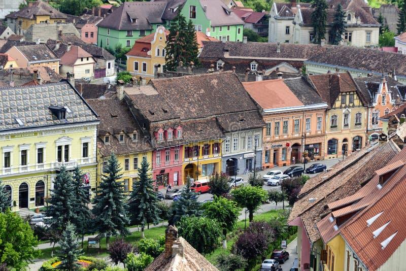 Widok z lotu ptaka stary grodzki Sighisoara, Rumunia zdjęcia royalty free