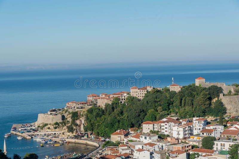 Widok z lotu ptaka stary grodzki Ulcinj, Montenegro obrazy royalty free