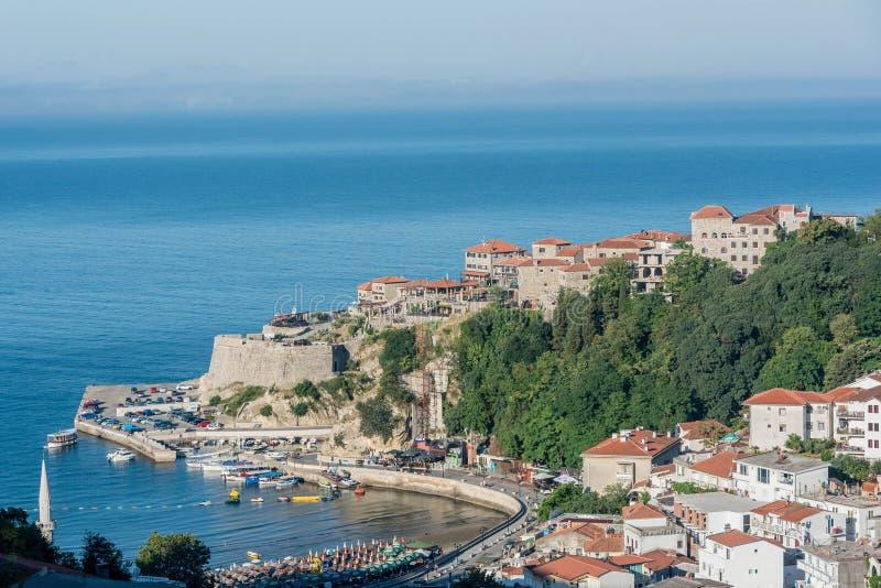 Widok z lotu ptaka stary grodzki Ulcinj, Montenegro obraz royalty free