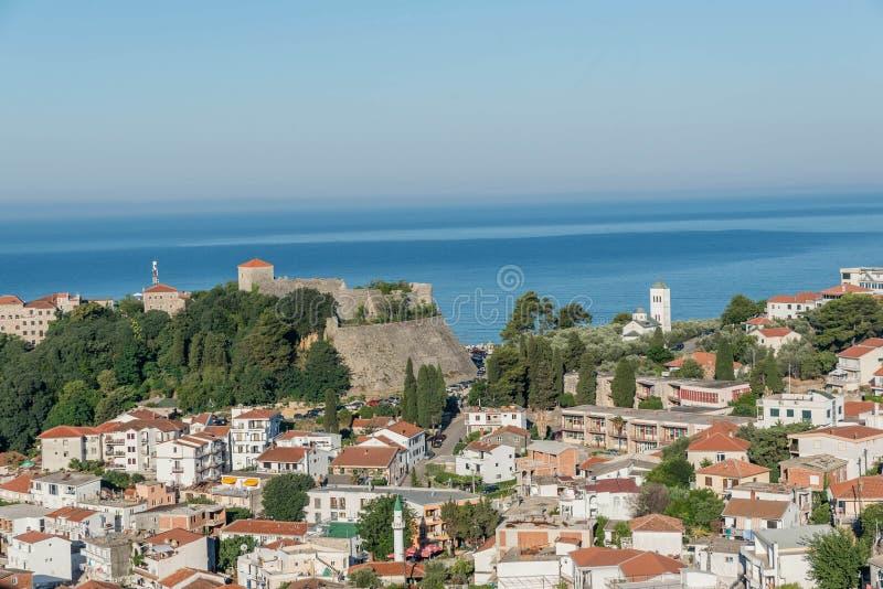 Widok z lotu ptaka stary grodzki Ulcinj, Montenegro obrazy stock