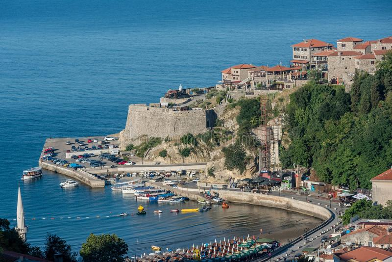 Widok z lotu ptaka stary grodzki Ulcinj, Montenegro fotografia royalty free
