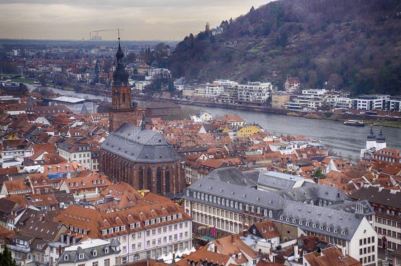 Widok z lotu ptaka stary miasto od zbocze kasztelu fotografia stock