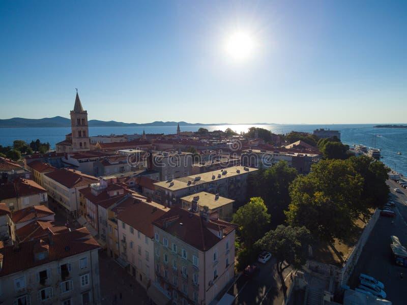 Widok z lotu ptaka stary miasto Zadar zdjęcia royalty free
