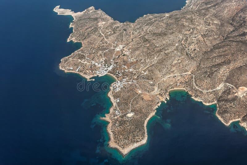 Widok z lotu ptaka Stavros w Donousa, Grecja zdjęcie royalty free