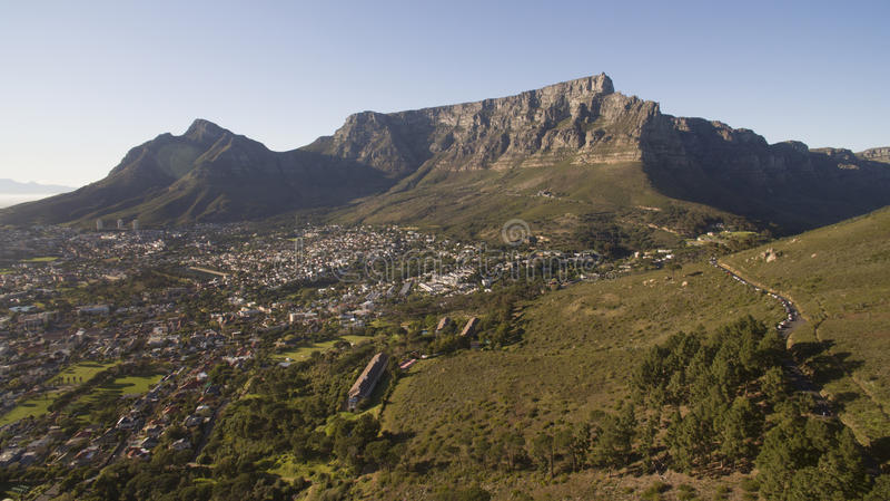 Widok z lotu ptaka Stołowy Mountian, Kapsztad, Południowy Africa obrazy royalty free